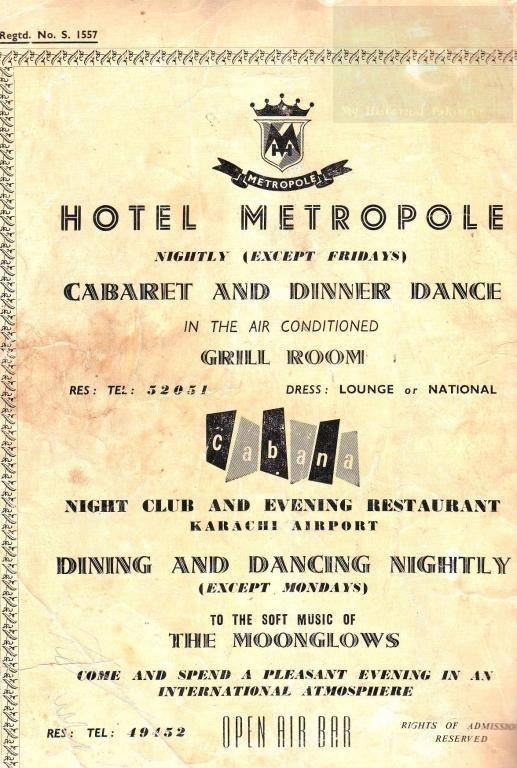 An old advertisement from Hotel Metropole Karachi